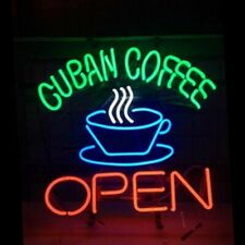 "Cuban Coffee Open Cafe Neon Light Sign 20""x16"" Real Glass Decor Windows Artwork"