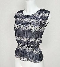 ATMOSPHERE sheer black white Floral Elasticate waist high neck Crop Top Blouse 8