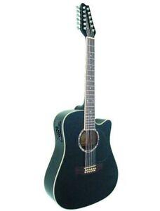 Guitare Electro-Acoustique 12 Cordes Noire