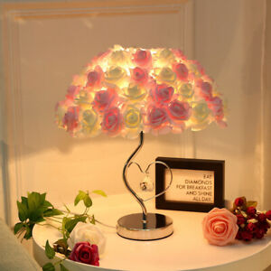 Large Creamy Pink Rose Lamp Table Bedside Heart Crystal Romantic Wedding
