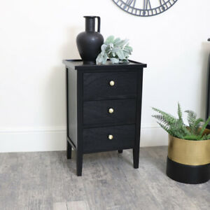 Black 3 Drawer Chest of Drawers with Gold Handles bedroom furniture storage