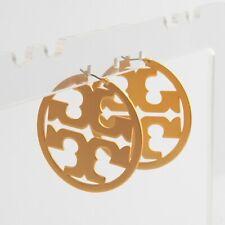 Tory Burch Gold Miller Hoop Logo Earrings New