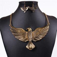 Retro Womens Jewelry Eagle Wings Pendant Chain Choker Necklace Earrings Set Wild