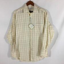 Alex Cannon 100% Cotton Yellow Windowpane Shirt Medium Width 24 Length 33 NWT