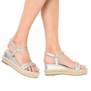 Womens Wedge Platform Espadrilles Ladies Metallic Stud Ankle Strap Summer Sandal