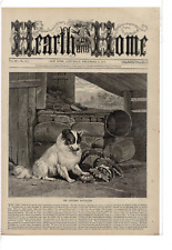 Dec 1871 Hearth And Home Spitz Dog With Paw On Turtle Ad Print C633