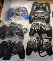Lot of Playstation Controllers, Many Working, Plus Memory Cards Extensions AS IS