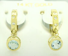 GENUINE 1.84 Cts AQUAMARINE & WHITE SAPPHIRE DANGLING HUGGIE EARRINGS 14k Gold