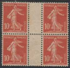 FRANCE SC 155 YV 134II GUTTER BLOCK WITH NUMERAL HINGED MINT VF EU 400