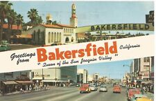 """Greetings from Bakersfield """"Queen of the San Joaquin Valley"""" Postcard 1950s"""