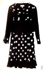 Joseph Ribkoff Black W/white Polka Dots Jupe Skirt & Veston Jacket Sz 2