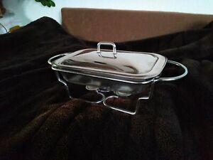 Speisenwärmer  Glas Schale  Buffetwärmer Warmhaltebehälter Chafing aus Erbschaft