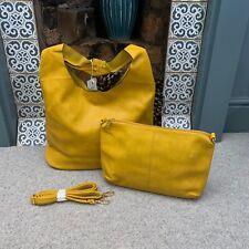 GIALLO SENAPE In Finta Pelle Hobo Tote Shoulder Bag Borsa con marsupio rimovibile