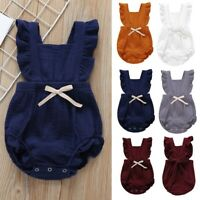 Toddler Kids Baby Boy Sleeveless Solid Ruffles Romper Newborn Bow Jumpsuit Cloth