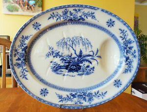 Antique Ironstone Flow Blue Well Tree Platter Furnival Staffordshire Ceylon 20""