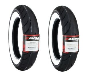 AVON COBRA WHITE WALL MT90B16 FRONT/REAR TIRE SET HARLEY TOURING SOFTAIL INDIAN