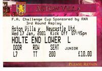 Ticket - Aston Villa v Newcastle United 17.01.01 FA Cup