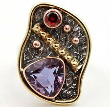 3CT Three Tone-  Alexandrite 925 Sterling Silver Ring Jewelry Sz 5.5