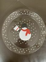 Crate & Barrel Snowman Glass Plate Serving Dish France Salad Dessert Snow Winter