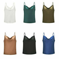 Women Solid Sleeveless Vest Camisole Silk Strappy Satin Blouse Tank Tops Summer