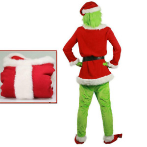 Mens Adult Costume The Grinch Christmas Santa Xmas Cosplay Fancy Dress Outfit