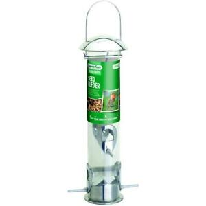 Gardman Heavy Duty Seed Feeder, Polished Aluminium, Holds Up To 600g of Seed Mix