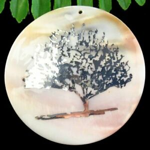Natural White Shell Silver Tree Of Life Round Pendant Bead 60x3mm SH1455