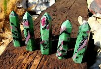 NATURAL RUBY ZOISITE CRYSTAL POINT TOWER POLISHED HEALING GEMSTONE OBELISK