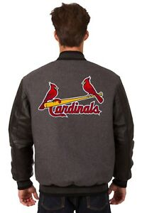 St. Louis Cardinals Wool & Leather Reversible Jacket with Embroidered Logos Gray