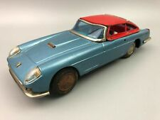 Vintage Tin Battery Operated Bandai Ferrari Car Blue Red Top