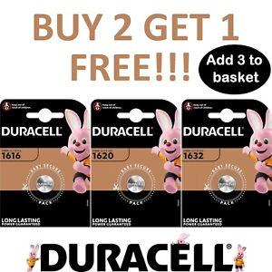 Duracell CR1616 CR1620 CR1632 Battery 3V Lithium Coin Cell Toys Car Keys Remote