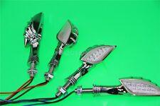 4x Chrome Skull Turn Signal Light Fit Honda VTX 1300 C R S RETRO Fury Interstate