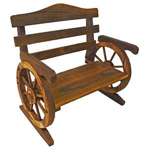 Rustic Wooden Wagon Wheel Design Junior Outdoor Bench / Loveseat Chair