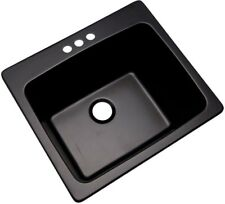 Single Bowl Utility Sink 3-Hole Drop In Kitchen Laundry Black Natural Stone 25