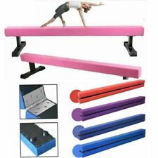 Gymnastics Folding Balance Beam 2.1M Hard Wearing Faux Leather Home Training Bar