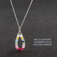 Natural Beaded Multi Sapphire Necklace Sterling Silver Women Gift Mother's Day