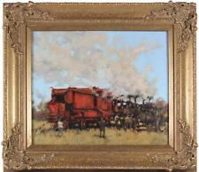 Ken Moroney Original Oil Painting Steam Fair Engine Tractor Car Signed Framed