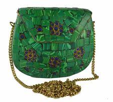 Handmade Metal Clutch Inlaid Stone Pouch Ethnic Green Purse Gypsy Boho Bag