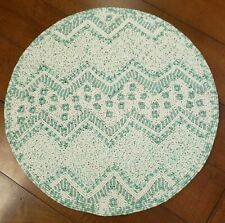 "NWT Kim Seybert 15"" Round White + Green Easter Egg Beaded Charger or Placemat"