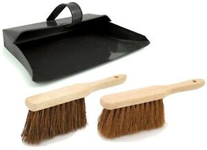 NEW STRONG METAL DUSTPAN AND BRUSH SET SOFT OR STIFF BRUSH BLACK DUST ASH PAN
