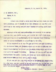 1893 Concord New Hampshire (NH) Letter Legal Advice J.H Dolbeer,Esq William L. F