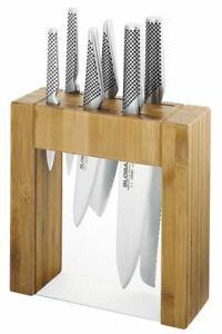 Global - Ikasu 7 PIECE Knife with Bamboo Block Set (Made in Japan)