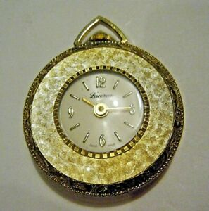 Vintage 1970s Lucerne Swiss Pendant Watch Gold Tone Mechanical Wind Up Working