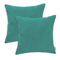 2Pcs Teal Cushion Cover Case Pillow Shell Home Car Decor Corduroy Stripes 16x16""