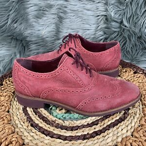 Cole Haan Womens Red Leather Alisa Lace Up Wingtip Oxfords Shoes Sz 7.5