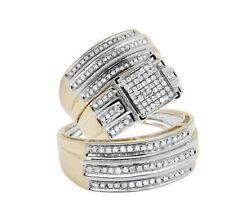 Two-Tone Gold Over Lab Diamond Engagement Wedding Trio Bridal Ring Set 2.25ct