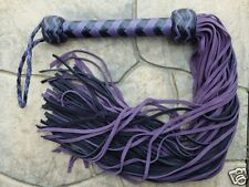 NEW PURPLE 70 TAIL Leather Flogger Whip - AMAZING Horse Training Tool - Cat