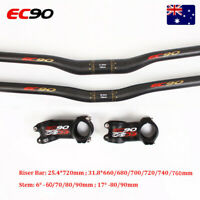 EC90 Carbon Handlebar 25.4/31.8mm Riser Bar Stem 6/17°-70/80/90mm MTB Bike Bar