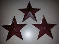 "3 Burgundy 5.5"" Metal Barn Stars - Ornaments, 5-1/2"", Farmhouse, Rustic Star"
