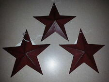"3 Burgundy 5.5"" Metal Barn Stars - Ornaments, 5-1/2"", Farmhouse, Rustic Star"